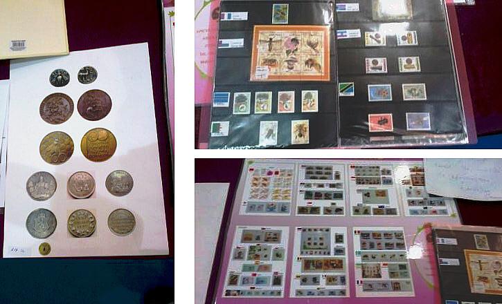 Коллекция монет и марок про пчёл